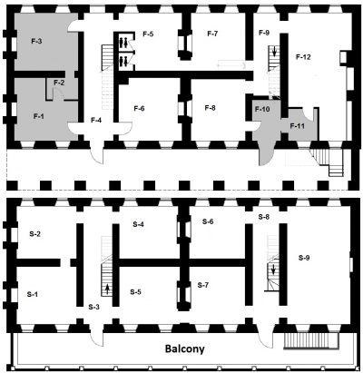 First Second Floor Plan with room codes